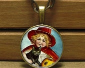 Vintage Halloween Baby Witch and Black Kitty Image Pendant (05) with Necklace.