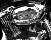 Harley Davidson, motorcycle fine art photography - 8x12 inches Archival paper supreme - Black and white vintage style