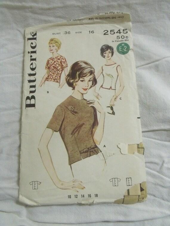 Vintage Ladies Blouse sewing pattern 1960's