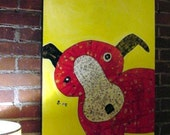 GO DOG - Big Red - large 24x36 mixed media on canvas New Price