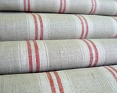 Pure  linen fabric with white and red stripes-natural fabric-ecofriendly