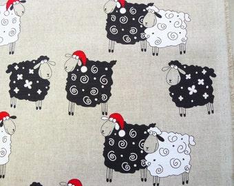 Christmas funny sheep-- linen cotton fabric