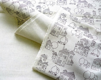 Linen fabric with HOUSES/ natural linen/cotton/fabric