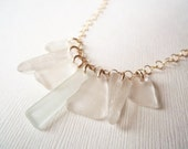 Sea Glass Necklace- Dagger Teeth on Gold-filled Chain