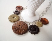 Button Charm Necklace in Earthy Browns- Recycled Vintage Buttons