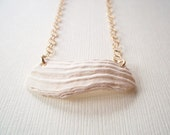 Necklace, Shell Gold Minimalist White Square