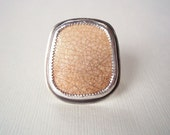 Pottery Shard Ring. Big Silver Ring. Statement Jewelry