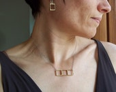 Geometric Jewelry. Gold Bar Necklace. Brass Squares on Sterling Silver. Modern Jewelry