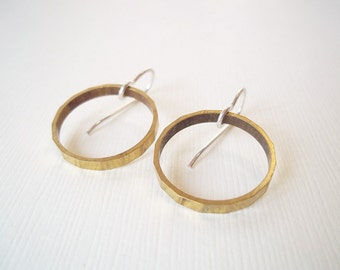 Gold Hoop Earrings. Brass Circles on Sterling Silver. Mixed Metal Modern Jewelry
