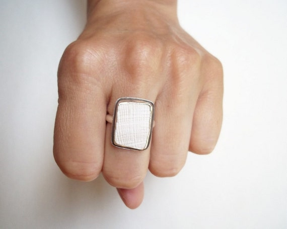 Big Shell Ring -Chunky Square White Statement in Sterling Silver