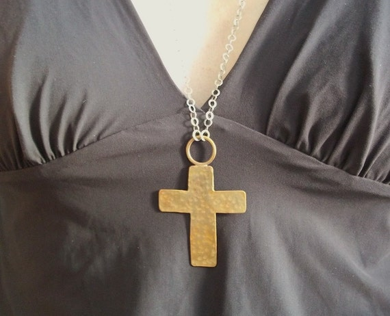 Long Necklace. Gold Cross Necklace in Hammered Brass on Long Silver Chain. Statement Necklace
