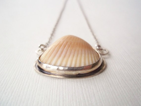 Tribal Shell Necklace- Sterling Silver Bezel Set. Artisan Organic Beach Jewelry