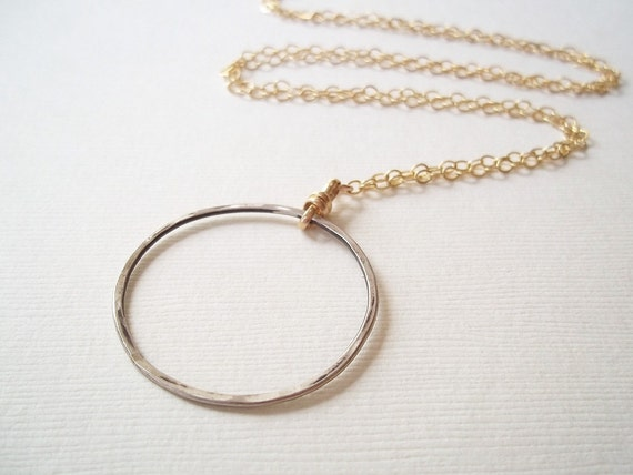 Long Necklace. Silver Circle Pendant on Long Gold Chain. Classic Style