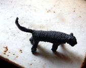 Knitted cat, charcoal grey