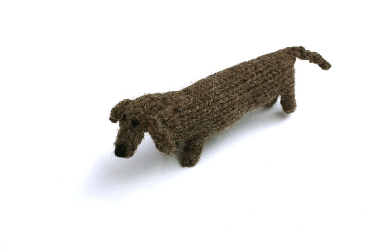Knitting pattern sausage dog yaasfo for l o n g hand knitted dachshund type sausage dog bankloansurffo Gallery