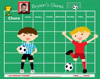 Personalized Children's Chore Chart - PHOTO of your Child - Soccer - Printable Jpeg or PDF