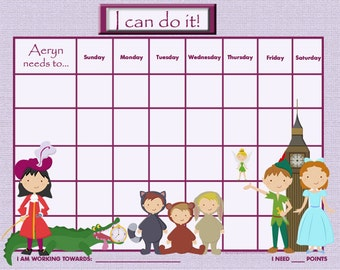 Custom Child Reward Chart - Peter Pan - PRINTABLE