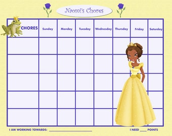 PRINTABLE Personalized Kids Chore Chart - Yellow Princess - Printable Jpeg or PDF