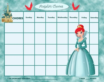 PRINTABLE Personalized Kids Chore Chart - Teal Princess - Printable Jpeg or PDF