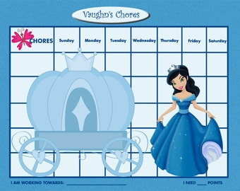 PRINTABLE Personalized Kids Chore Chart - Blue Princess - Printable Jpeg or PDF