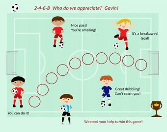 PRINTABLE PERSONALIZED Child Behavior Incentive Chart - Soccer