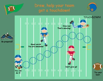 PRINTABLE PERSONALIZED Child Behavior Incentive Chart - Football