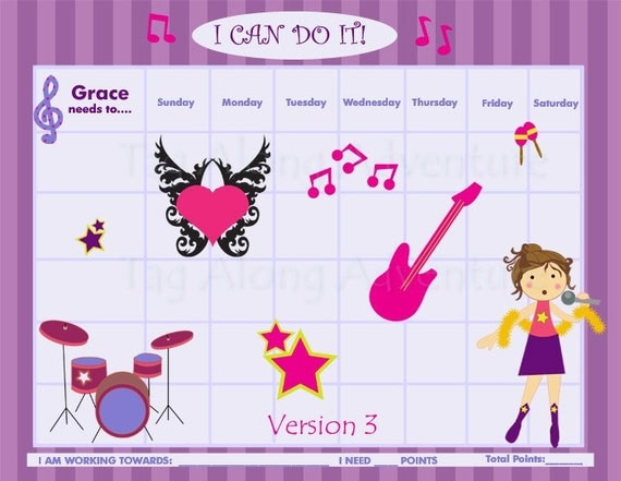 Personalized Child Behavior Incentive Chart - 5 Color Schemes Available - She's a Rock Star - Printable