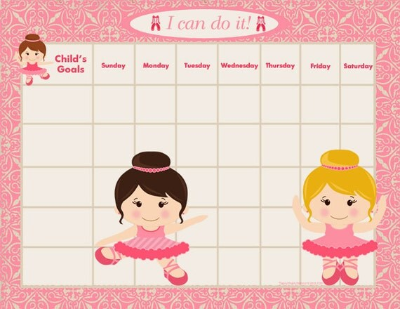 PRINTABLE Personalized Child Behavior Incentive Chart - Four Versions - She's a Ballerina - Printable Jpeg or PDF