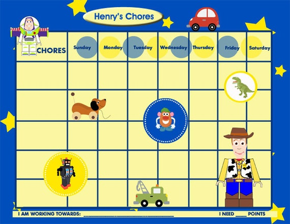 Toy Story Sticker Chart : Custom chore chart for children it s a toy story