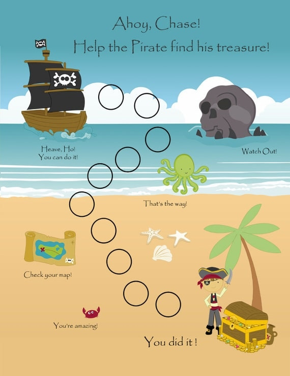 PRINTABLE - Personalized Child Behavior Reward Chart - Pirates ...