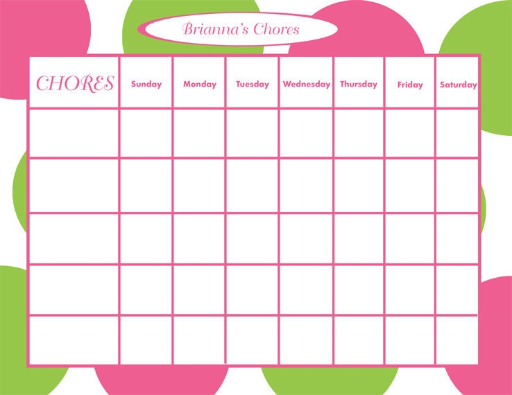 Download Chore Chart | For Kids | Printable | Template Wikidownload
