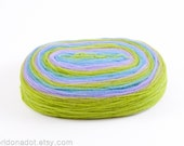 Thin Wool Pencil Roving, Spinning or Felting Fiber, Bright Green, Blue and Lilac