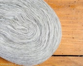 Thin Wool Pencil Roving / Pre-Yarn, Spinning, Felting or Knitting Fiber, Light Grey