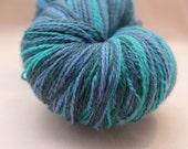 Kauni Wool Yarn, Self Striping, Fingering, 2ply, Seafoam Blue Green Turquoise Lilac Grey