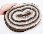 Thin Wool Pencil Roving / Pre-Yarn, Spinning or Felting Fiber, Brown Grey and Natural Cream White FREE SHIPPING WORLDWIDE