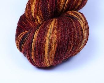 Kauni Wool Yarn Effektgarn 8/2 Rusty Brown Mustard Yellow Gradient Self Striping Variegated 100% Wool dk 2ply EP