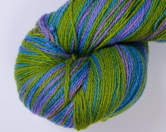 Kauni Wool Yarn, Self-Striping Yarn, Blue Green Lilac, dk 2ply