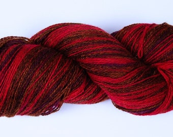 Kauni Wool Yarn Self-Striping, Red Purple Brown Gradient