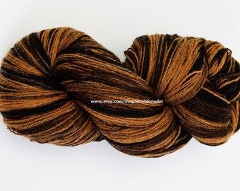 Kauni Wool Yarn Color ED, Self-Striping, Mega-Yardage, Black Brown Mustard Yellow Gradient ED
