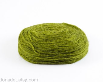 Kauni Thin Wool Pencil Roving, Spinning or Felting Fiber, Olive Green