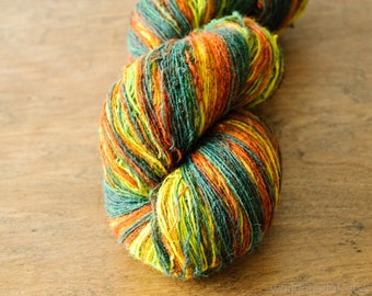 Kauni Wool Yarn 8/1 Fingering 1 ply, Green Yellow Brown Fall Autumn Harvest