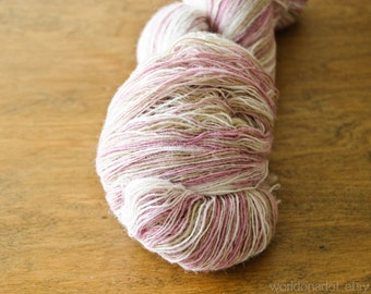 1 ply Kauni Wool Yarn 8/1, Self-Striping Light Pink Beige Natural Cream White