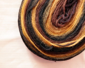 Thin Wool Pencil Roving, Spinning or Felting Fiber, Black, Brown and Mustard Yellow
