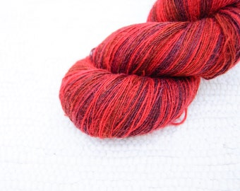1 ply Lace Weight Kauni Wool Yarn 8/1, Red Claret Rusty Brown Purple
