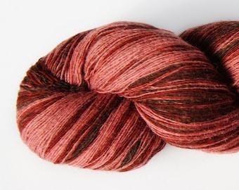 1 ply Lace Weight Kauni Wool Yarn 8/1, Gradient of dark Brown, Burgundy, Old Pink