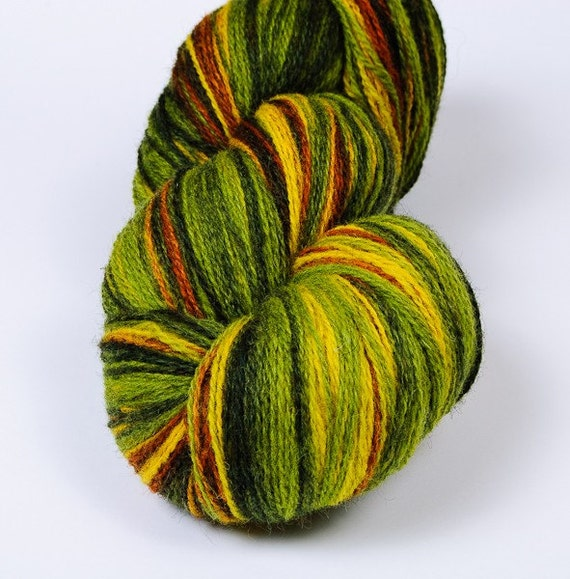 KAUNI 2ply Wool Yarn, Sport weight, Color ev, High-Quality, Green Yellow Brown Fall Autumn, FREE SHIPPING Worldwide
