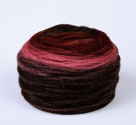Self Striping Chunky Wool Pencil Roving, for Knitting, Crocheting, Spinning or Felting, 100 % Wool, Dark Brown Pink Burgundy