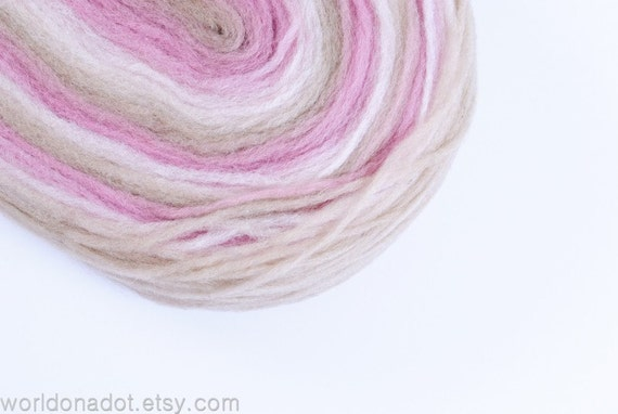 Thin Wool Pencil Roving, For Spinning, Felting or Knitting, Beige, Light Pink and Vanilla White FREE SHIPPING WORLDWIDE