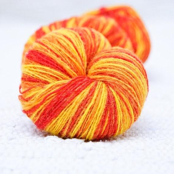 1 ply Lace Weight Kauni Wool Yarn 8/1, Mega-Yardage, Orange, Red and Yellow