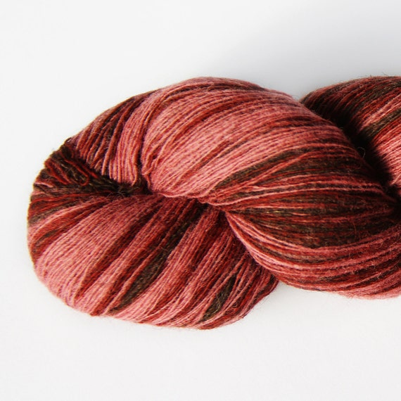 1 ply Lace Weight Kauni Wool Yarn 8/1, Gradient of dark Brown, Burgundy, Old Pink